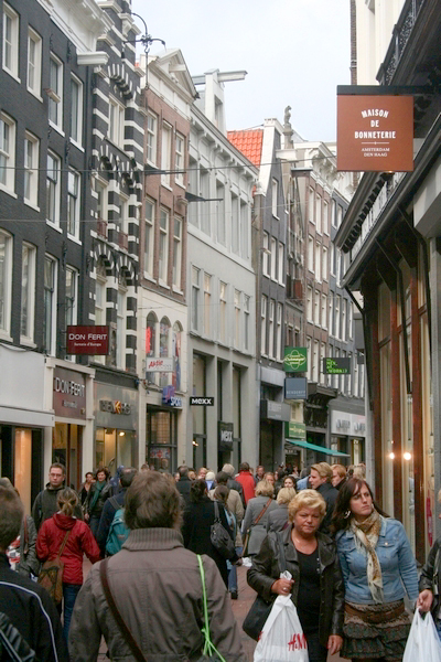 The Kalverstraat - Amsterdam's main shopping street (for non-hallucinogenic items).