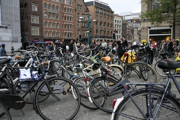 Somewhere underneath this pile of bikes lies the famous Damplein.