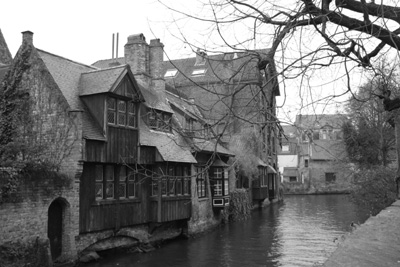 Canal with medieval houses in Bruges