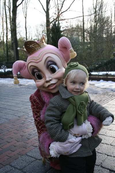 My little niece Hebe in the arms of Pardijn, one of the theme park's mascots.