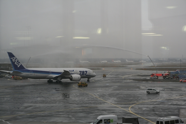 ANA Boeing 787 Dreamliner about to receive baptism at Frankfurt airport