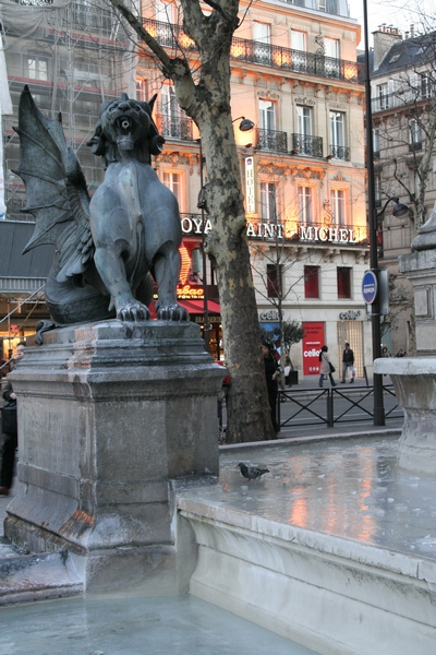 Fountain of Saint-Michel frozen over