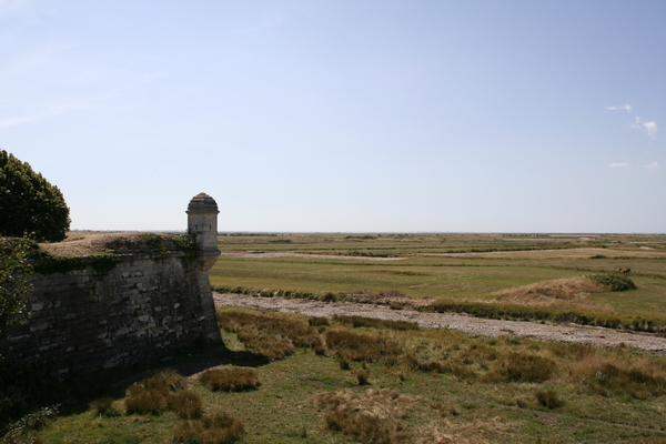 View on the surrounding tidal flats from the walls of Le Brouage