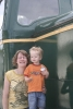 Wolf and Mrs.B posing on a Diesel locomotive