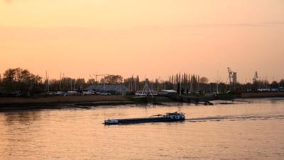 Boat on the river Schelde (Scheldt)