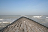 A pier at the Middelkerke beach (Belgian coast)